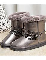 baratos -Mulheres Sapatos Pele Inverno Botas de Neve Botas Sem Salto Botas Cano Médio para Prata