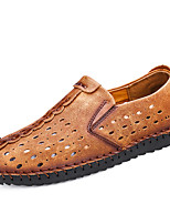 cheap -Men's Shoes Nappa Leather Spring Summer Comfort Loafers & Slip-Ons for Casual Office & Career Black Yellow Khaki