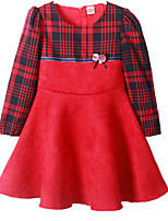 cheap -Girl's Patchwork Dress Spring Fall Long Sleeves Cute Red Royal Blue