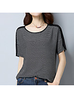 cheap -Women's Basic T-shirt - Striped Patchwork