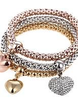 cheap -Women's Heart 3pcs Charm Bracelet Strand Bracelet - Sweet Rainbow Bracelet For Party Gift