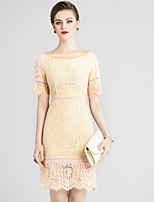 Недорогие -Жен. Классический Шинуазери (китайский стиль) Облегающий силуэт Платье - Однотонный Цветочный принт Выше колена