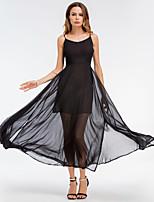 Недорогие -Жен. Классический А-силуэт С летящей юбкой Платье - Однотонный Макси