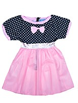 cheap -Girl's Daily Holiday Polka Dot Dress, Cotton Polyester Summer Short Sleeves Cute Blushing Pink