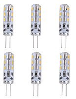cheap -6pcs 1W 90lm G4 LED Bi-pin Lights T 24 LED Beads SMD 3014 Decorative Green Blue Red 12V