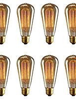 abordables -BRELONG® 8pcs 40W E26 / E27 Jaune 2000-2200k Décorative Ampoule incandescente Edison Vintage 220-240V