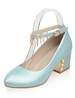 baratos -Mulheres Sapatos Courino Primavera / Outono Conforto / Inovador Saltos Salto Robusto Ponta Redonda Presilha Bege / Azul / Rosa claro
