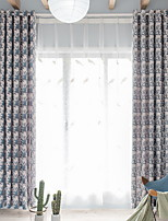 cheap -Curtains Drapes Living Room Geometric Contemporary Cotton / Polyester Printed