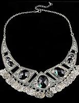 abordables -Mujer Gota Collares Declaración  -  Vintage Bohemio Forma de Círculo Negro 45cm Gargantillas Para Fiesta de Noche Discoteca