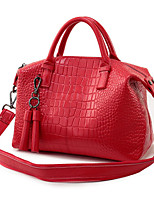 baratos -Mulheres Bolsas PU Tote Ziper para Casual Azul / Branco / Vermelho
