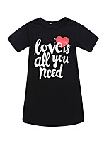 cheap -Girl's Daily Holiday Print Dress, Cotton Polyester Spring Summer Short Sleeves Cute Active Black