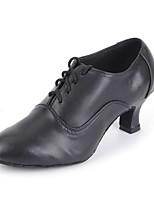 cheap -Women's Jazz Shoes / Modern Shoes Leather Heel Indoor Customized Heel Customizable Dance Shoes Black