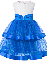 cheap -Girl's Party Going out Patchwork Dress, Cotton Polyester Spring Summer Sleeveless Cute Blue Red Fuchsia