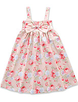 cheap -Girl's Daily Going out Floral Print Dress, Cotton Polyester Summer Sleeveless Cute Active Blushing Pink