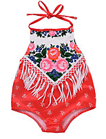 cheap -Baby Girls' Floral Sleeveless Cotton Romper / Cute / Toddler