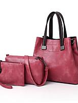 cheap -Women's Bags PU Leather Bag Set 3 Pcs Purse Set Beading for Shopping Gray / Fuchsia / Brown