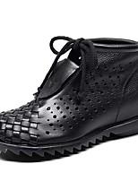 Недорогие -Жен. Обувь Кожа Весна лето Ботильоны Ботинки Туфли на танкетке Черный / Темно-коричневый