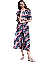 cheap -SHE IN SUN Women's Chinoiserie Flare Sleeve A Line Dress - Geometric Print