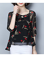 cheap -Women's Street chic Blouse - Floral Print