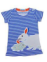 cheap -Toddler Girls' Blue & White Striped Short Sleeve Dress