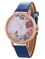 cheap -Women's Wrist Watch Chinese Large Dial / Casual Watch PU Band Flower / Vintage Black / Blue / Brown