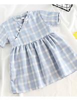 cheap -Kids / Toddler Girls' Plaid Short Sleeve Dress