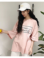 cheap -Women's Cotton T-shirt - Letter