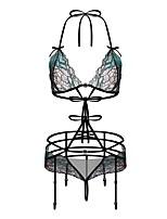 abordables -Body Vêtement de nuit Femme - Dentelle Ouvert Maille, Fleur Jacquard Broderie