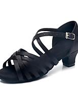 cheap -Girls' Latin Shoes Silk Heel Cuban Heel Customizable Dance Shoes Black / Practice