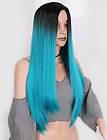 cheap -Wig Accessories Straight Layered Haircut Synthetic Hair Middle Part Blue Wig Women's Long Natural Wigs Capless Daily Wear