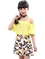 abordables -Enfants Fille Géométrique Manches Courtes Ensemble de Vêtements