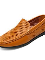 Недорогие -Муж. обувь Искусственное волокно Полиуретан Лето Мокасины Удобная обувь Мокасины и Свитер Белый Черный Коричневый