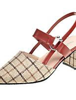 economico -Per donna Scarpe Tessuto Primavera Comoda Tacchi Heel di blocco Punta tonda Nero / Beige