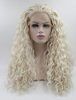 Недорогие -Синтетические кружевные передние парики Прямой Стрижка каскад Искусственные волосы Средний размер Белый Парик Жен. Длинные Парик из