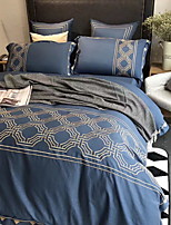 cheap -Duvet Cover Sets Geometric Silk / Cotton Blend Embroidery 4 Piece