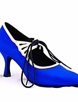 cheap -Women's Modern Shoes Silk Heel Performance / Practice Stiletto Heel Dance Shoes Blue