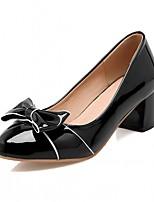 abordables -Femme Chaussures Similicuir Automne Confort / Nouveauté Chaussures à Talons Talon Bottier Bout rond Noeud Noir / Beige / Rose