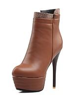 abordables -Femme Chaussures Similicuir Hiver Bottes à la Mode / Botillons Bottes Talon Aiguille Bout rond Bottine / Demi Botte Noir / Marron / Rouge