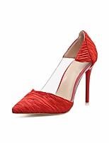 abordables -Femme Chaussures Tulle Printemps été Escarpin Basique Chaussures à Talons Talon Aiguille Bout pointu Noir / Rouge / Amande