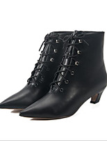 preiswerte -Damen Schuhe Kunststoff Herbst Komfort Stiefel Blockabsatz für Normal Schwarz