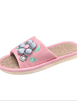 cheap -Women's Shoes Linen Spring Comfort Slippers & Flip-Flops Flat Heel for Casual Gray Fuchsia Green Blue Pink