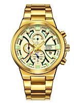 preiswerte -Herrn Quartz Sportuhr Kalender Chronograph Armbanduhren für den Alltag Stopuhr Edelstahl Band Luxus Cool Schwarz Silber Gold