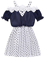 cheap -Kids Girls' Polka Dot Short Sleeve Dress