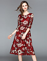 cheap -Women's Vintage / Sophisticated A Line / Swing Dress - Floral Lace / Print