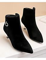 Недорогие -Жен. Обувь Нубук Осень Ботильоны Ботинки На шпильке Ботинки Черный