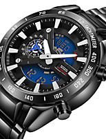 cheap -Men's Quartz Sport Watch Calendar / date / day Chronograph Large Dial Stopwatch Stainless Steel Band Luxury Cool Black Silver Gold