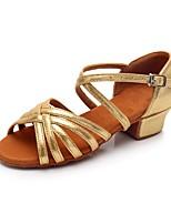 Недорогие -Девочки Обувь для латины Синтетика На каблуках На низком каблуке Персонализируемая Танцевальная обувь Золотой / В помещении