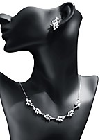 cheap -Women's Cubic Zirconia Jewelry Set - Leaf Sweet, Fashion Include Drop Earrings / Pendant Necklace White For Wedding / Birthday