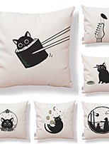 cheap -6 pcs Textile / Cotton / Linen Pillow case, Art Deco / Simple / Printing Square Shaped / Modern / Contemporary