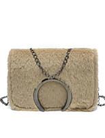 cheap -Women's Bags PU Shoulder Bag Feathers / Fur Blushing Pink / Gray / Khaki
